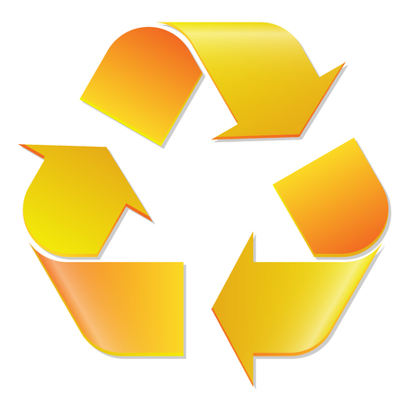 Recycling symbol yellow on white Illustration