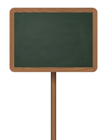 Blackboard standing on wooden post