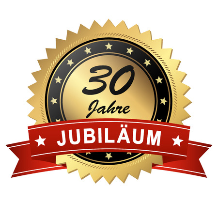 golden jubilee medallion with red banner for 30 years Ilustração