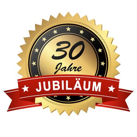 medallón del jubileo de oro con estandarte rojo durante 30 años Ilustración de vector