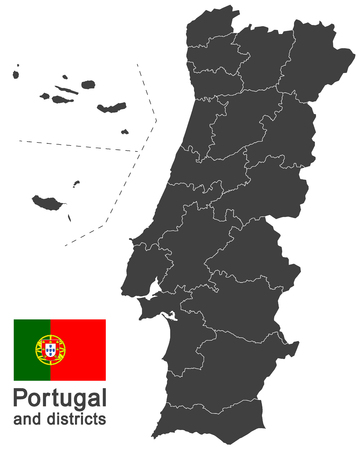 european country Portugal and districts in details 免版税图像 - 122937319
