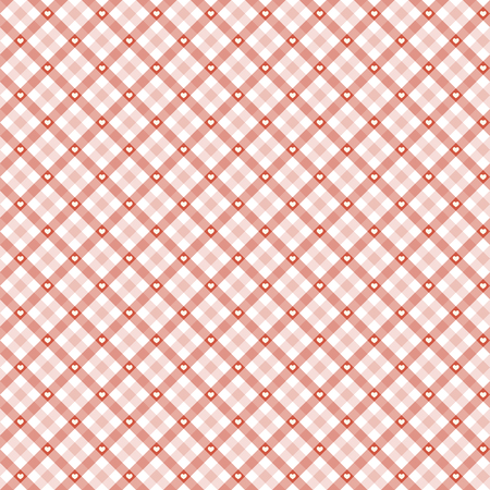 red checkered table cloth background with white hearts