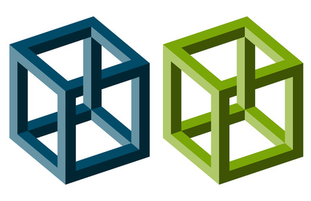 little collection of illustrated colored optical illusions Векторная Иллюстрация