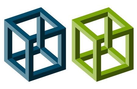 piccola raccolta di illusioni ottiche colorate illustrate Vettoriali