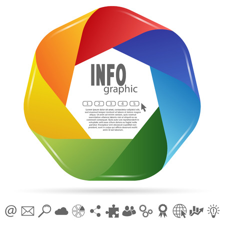 business info graphic colored with seven options and some web icons