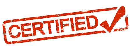 Grunge-Stempel mit rotem Rahmen und Text zertifiziert