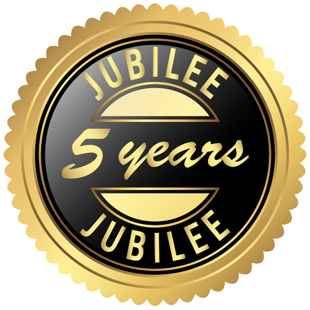 round seal colored black and gold for five years jubilee