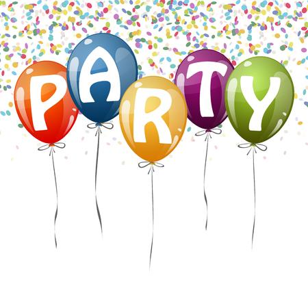 globos de colores voladores con cintas, confeti y fiesta de texto Ilustración de vector