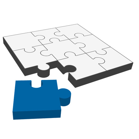 gray three dimensional puzzle with one blue part who fits