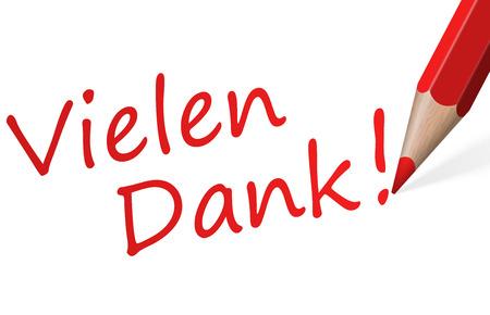 Rotstift mit Text Danke (auf Deutsch) isoliert auf weißem Hintergrund