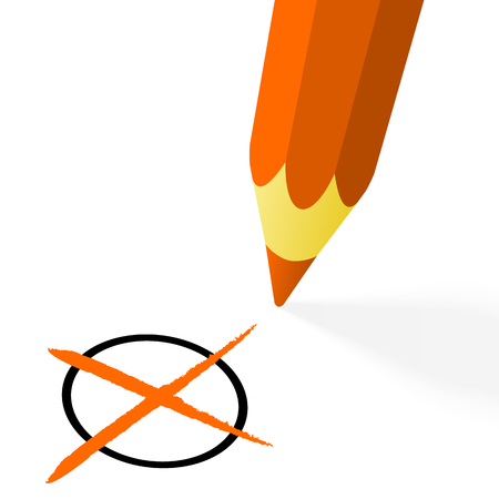 illustration of pencil colored orange drawing a cross