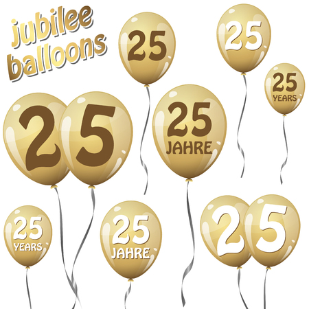 golden jubilee balloons for 25 years in english and german