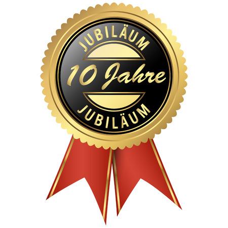 pieczęć w kolorze czarno-złotym z czerwonymi wstążkami na jubileusz dziesięciu lat Ilustracje wektorowe