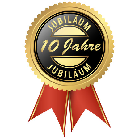 seal colored black and gold with red ribbons for ten years jubilee Vector Illustration