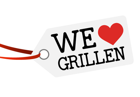 white hang tag with red ribbon and text WE LOVE GRILLEN Foto de archivo - 122937362