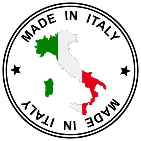 "parche redondo ""Made in Italy"" con silueta de italia Ilustración de vector"