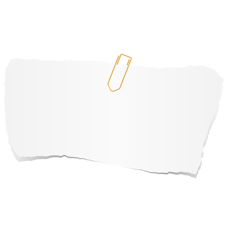 white colored scrap of paper with paper clip Illustration