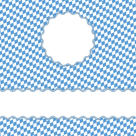 blue and white checkered Oktoberfest background with banner and space for text Standard-Bild - 121526521