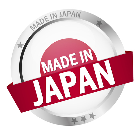 round button with banner, country flag and text MADE IN JAPAN