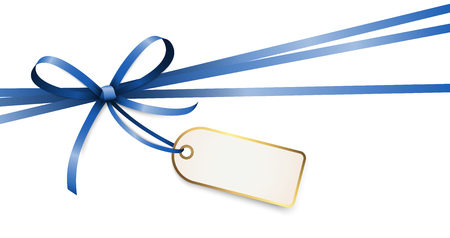 EPS 10 vector illustration of blue colored ribbon bow with hang tag and free text space isolated on white background