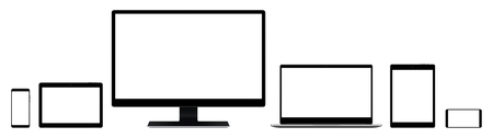 EPS 10 vector set of monitor, notebook, tablet and smartphone colored black