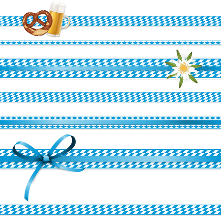 EPS 10 vector illustration of white and blue checkered banners with Edelweiss flower, ribbon bow and pair of pretzel and beer for German Oktoberfest time