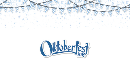 Oktoberfest 2019 garlands having blue-white checkered pattern and blue confetti