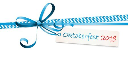 EPS 10 vector illustration of blue colored ribbon bow with hang tag and text Oktoberfest 2019 isolated on white background for German Oktoberfest time