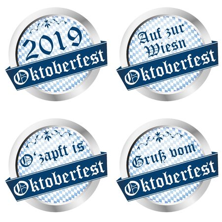 EPS 10 vector illustration of buttons for German Oktoberfest 2019 in Munich with text greetings, go to Wiesn, O'zapft is (text in german)
