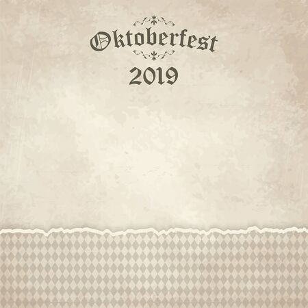 vintage background with ripped open paper have checkered pattern for Oktoberfest 2019