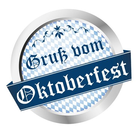 EPS 10 vector file with an button for German Oktoberfest in Munich with text Greetings from Oktoberfest (in german)  イラスト・ベクター素材