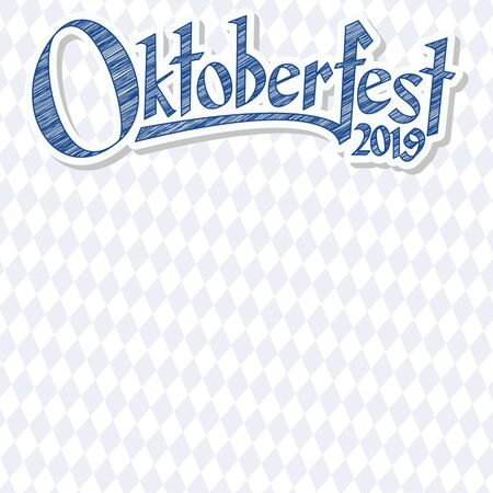 Oktoberfest background with blue-white checkered pattern and text Oktoberfest 2019 (in german) Stok Fotoğraf - 124881537