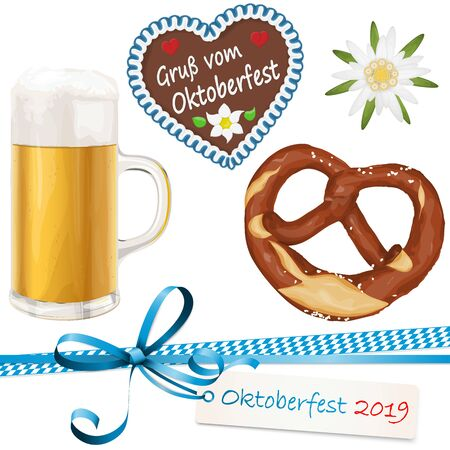 collection of typical illustrated Oktoberfest objects, beer, bretzel, gingerbread heart with text 'greetings from Oktoberfest' (in german), Edelweiss flower and ribbon bow with hang tag for beer garden time 2019