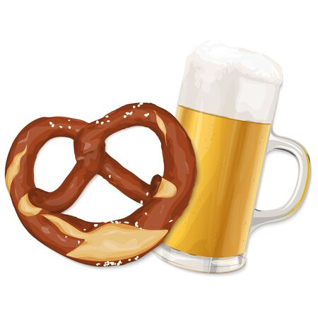 EPS 10 vector file with brown pretzel and glass of beer