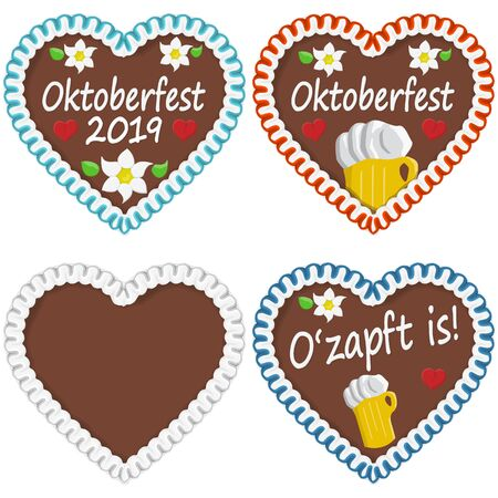 illustrated gingerbread hearts with text in german for Oktoberfest 版權商用圖片 - 127146708