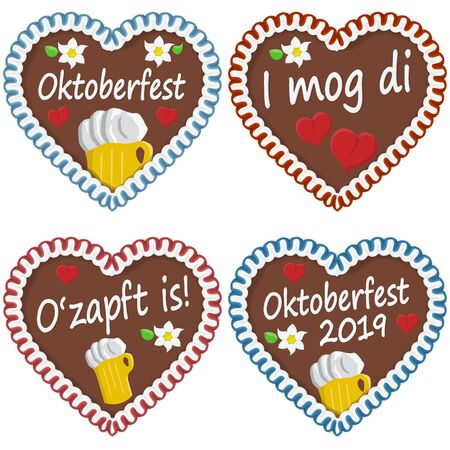 illustrated gingerbread hearts with text in german for Oktoberfest 2019 2020 time