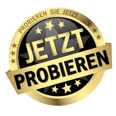 EPS 10 vector with round colored button with banner and text try now (in german)
