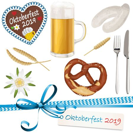 collection of typical illustrated Oktoberfest objects, beer, bretzel, gingerbread heart with text 'Oktoberfest 2019', Edelweiss flower, wheat, white sausage with spoon and knife and ribbon bow with hang tag for beer garden time 2019