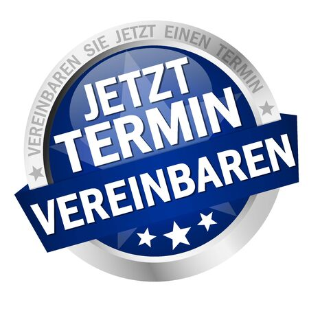 vector with round colored button with banner and text arrange meeting now (in german)