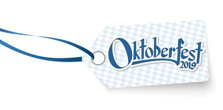 hangtag with blue white checkered pattern and text Willkommen zum Oktoberfest 2019 (in german)  イラスト・ベクター素材