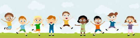 EPS10 vector file showing happy young kids with different skin colors, boys and girls laughing, hopping, playing and having fun together in front of summer time background with green gras and blue sky