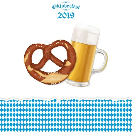 Oktoberfest 2019 background with a pretzel and a glass of beer