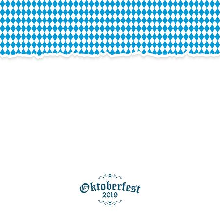 Oktoberfest background with ripped open paper having blue-white checkered pattern and text