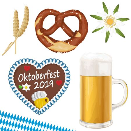 collection of typical illustrated Oktoberfest objects, beer, bretzel, wheat, Edelweiss flower and gingerbread heart for beer garden time 2019