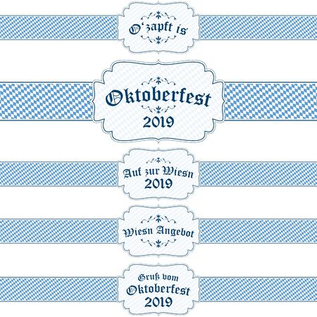 five different blue and white Oktoberfest 2019 banners with text