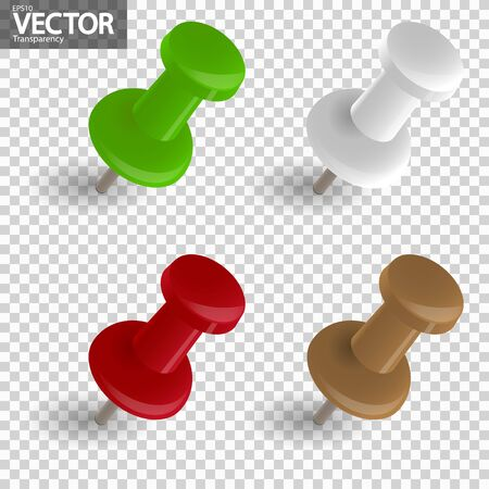 collection of four pin needles in different colors with vector transparency Illustration