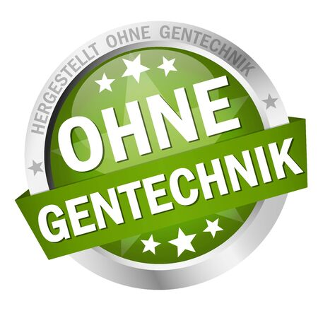EPS 10 vector with round colored button with banner and text without genetic engineering (in german) Illustration