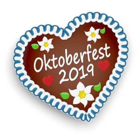 illustrated gingerbread heart with text Oktoberfest 2019 and red hearts and german Edelweiss flowers