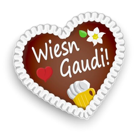 illustrated gingerbread heart with text (in german) for Oktoberfest 2019 2020 time 向量圖像