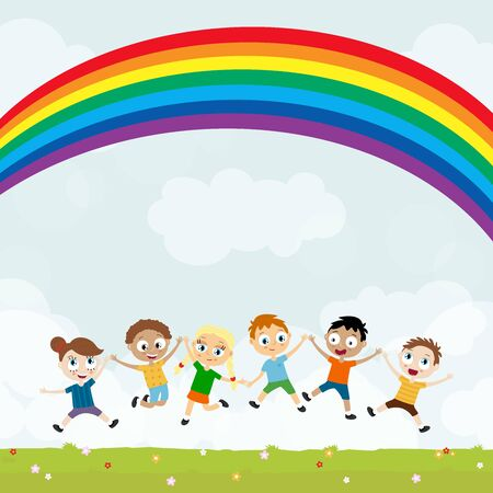 EPS10 vector file showing happy young kids with different skin colors, boys and girls laughing, hopping, playing and having fun together in front of summer time background with green gras, blue sky and rainbow Illustration